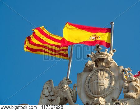 flags of catalonia and spain