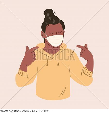 Young Man In A Protective Mask. Happy Guy Uses A Medical Face Mask. Illustration In Pastel Colors.