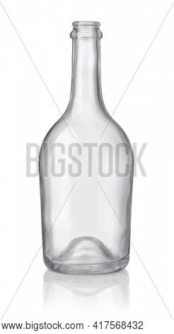 Front view of empty transparent glass liquor bottle isolated on white
