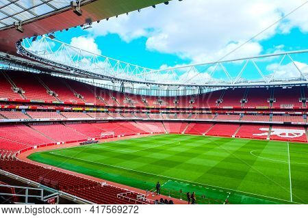 London, United Kingdom- Circa January, 2020: A Picture From Main Stand Inside Of Empty Emirates Stad