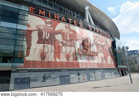 London, United Kingdom- Circa January, 2020: A Picture Exterior Of Empty Emirates Stadium During Wee