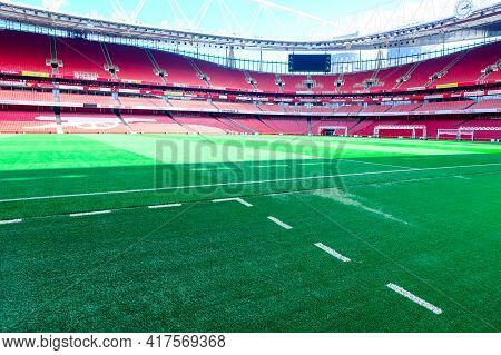 London, United Kingdom- Circa January, 2020: A Pitch Side Picture Of Empty Emirates Stadium During W