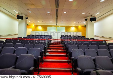 London, United Kingdom- Circa January, 2020: A Picture Of Empty Emirates Stadium Press Conference Si
