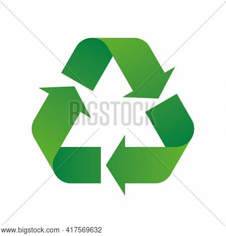 Universal Recycling Symbol. Theme Of Low Or Zero Waste, Clear Energy, Natural Resources Conservation