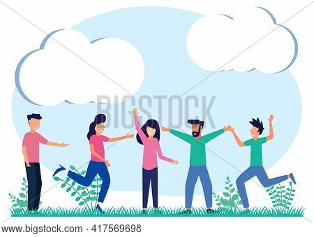 Friends As A Group Of Social Communities Together Despite The Concept Of Social Diversity. Multiraci