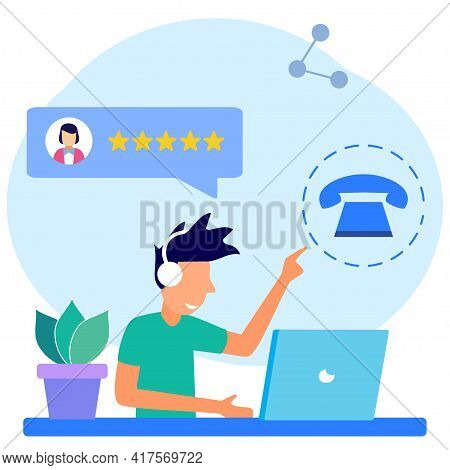 Isometric Flat Vector Illustration. The Clerk Character Talks To Customer Support. Customer Asked Qu