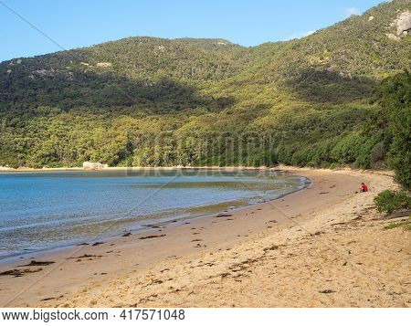 Wilsons Promontory, Victoria, Australia - March 28, 2017: This Lovely Sandy Beach Is A Great Reward