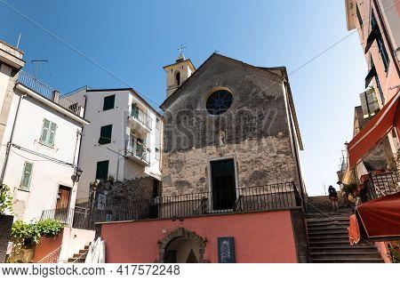 Corniglia, Liguria, Italy. June 2021. Cityscape: View Of Chapel Of Saint Catherine Flagellants In Th