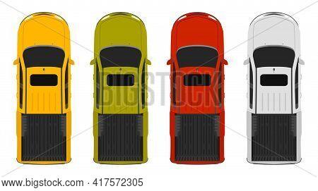 Trucks Top Up View, 4 Colors Pick Ups