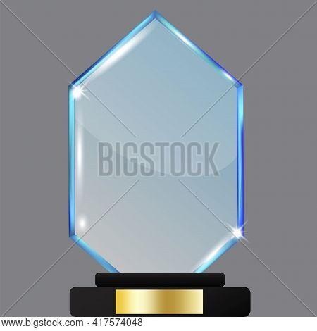 Gem In Royal Style. Blue Gem On White Background. Vector Illustration. Stock Image.