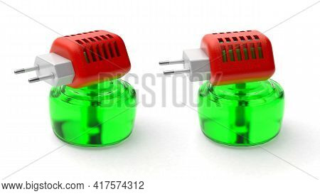 Fumigator, Mosquito Repellent. Insect Protection. Plug Into An Outlet And A Jar Of Liquid. Isolated
