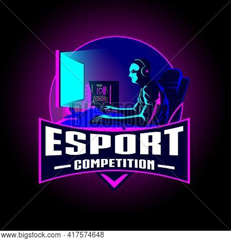 Esport Competition Insignia Vector Illustration For Tshirt Print, Symbol, Design Element Or Any Othe