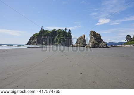 Abbey Island At Ruby Beach In Olympic National Park Washington State