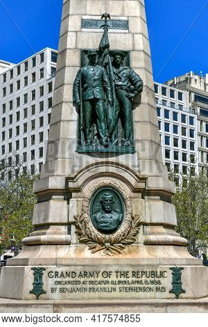 Washington, Dc - Apr 3, 2021: Stephenson Grand Army Of The Republic Memorial Is Located In Washingto