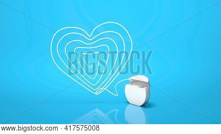 Dental Floss. Flossing Your Teeth. Heart Made Of Dental Floss On A Blue Background. 3d Render