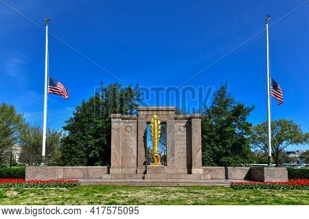 Washington, Dc - Apr 3, 2021: Second Division Memorial In President's Park In Washington, Dc, United