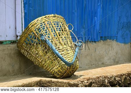 Bamboo Handicraft Basket For Carrying Small Materials,commonly Known As Doko In Darjeeling Hill.