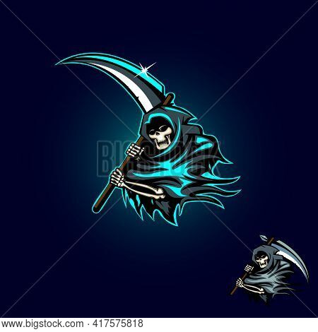Grim Reaper Vector Illustration For Esport Logo, Tshirt, Or Any Other Purpose.