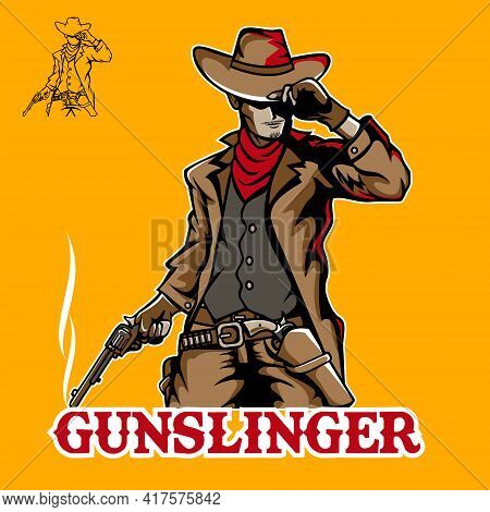 Gunslinger Vector Illustration In Cool Pose For Esport, Tshirt, Or Any Other Purpose