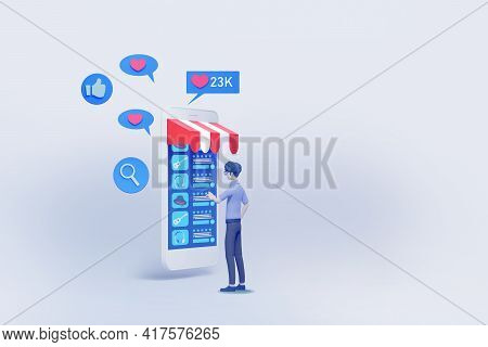 Man Shopping With Online Interface Application Display  3d Illustration\n\n,concept Of Online Shoppi