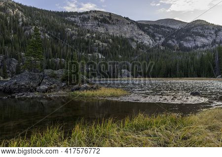The Small Island With A Few Pine Trees On Lone Pine Lake On The East Inlet Trail In Rocky Mountain N