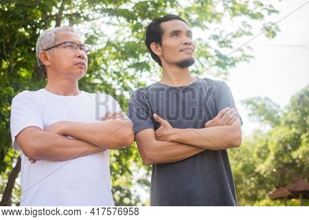 Two People Old Man And Son Exercise Standing Outdoor