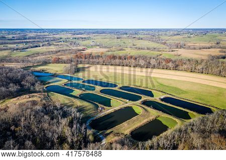 Aerial view of sewage treatment lagoons near Georgetown, Kentucky