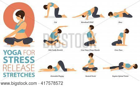 Infographic 9 Yoga Poses For Workout At Home In Concept Of Stress Release Stretches In Flat Design.