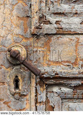 door handle in an old dilapidated house