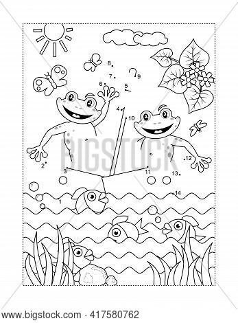 Frogs The Sailors In A Boat Connect The Dots Full-page Picture Puzzle And Coloring Page