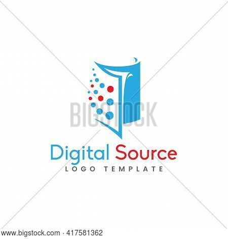Abstract Book Silhouette Combination With Dot As The Digital Source Concept Logo Design. Graphic Des