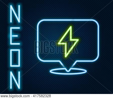 Glowing Neon Line Lightning Bolt Icon Isolated On Black Background. Flash Icon. Charge Flash Icon. T