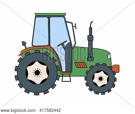 Tractor. Vector Illustration Of A Green Tractor In A Flat Style Isolated On White Background. Heavy