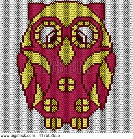Knitting Of Big Cartoon Owl In Yellow And Pink Hues On The White Background, Illustration For Textil