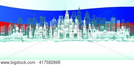 Travel Russia Top World Famous City Ancient And Palace Architecture. Tour Moscow Landmark Of Europe