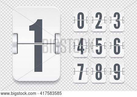Vector Template With Light Flip Scoreboard Numbers With Shadows For White Countdown Timer Or Calenda