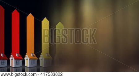Composition of houses and energy efficiency rating with screen of smoke. global environment, sustainability, global warming and climate change concept digitally generated image.