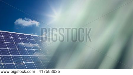 Composition of solar panels against blue sky with screen of smoke. global environment, sustainability, global warming and climate change concept digitally generated image.