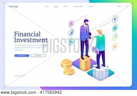 Financial Investment Isometric Landing Page. Invest Strategy Plan, Finance Analytic Service For Grow