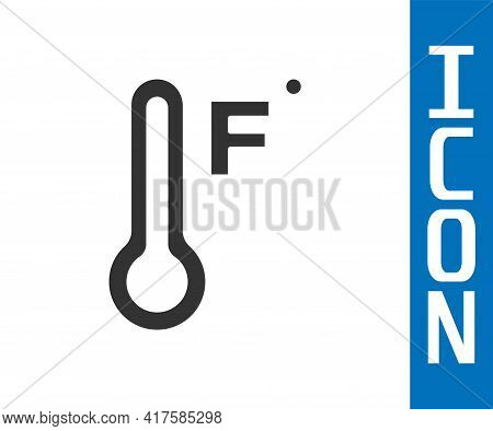 Grey Meteorology Thermometer Measuring Heat And Cold Icon Isolated On White Background. Temperature