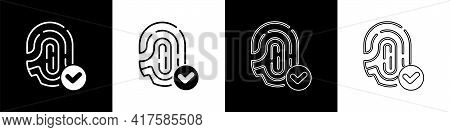 Set Fingerprint With Check Mark Icon Isolated On Black And White Background. Id App Icon. Identifica