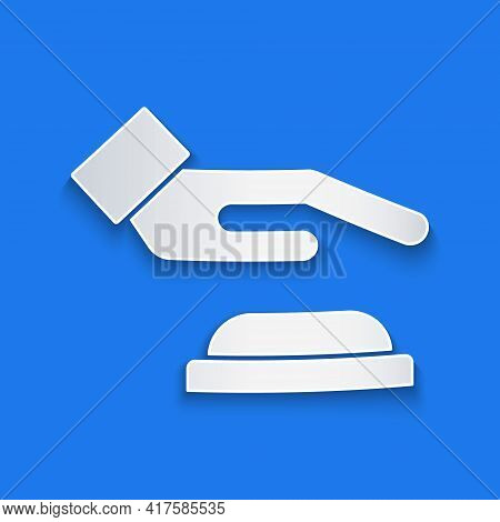 Paper Cut Palm Print Recognition Icon Isolated On Blue Background. Biometric Hand Scan. Fingerprint