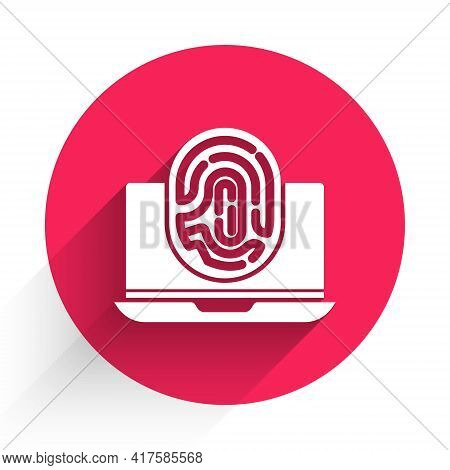 White Laptop With Fingerprint Icon Isolated With Long Shadow. Id App Icon. Identification Sign. Touc