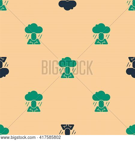 Green And Black Depression And Frustration Icon Isolated Seamless Pattern On Beige Background. Man I