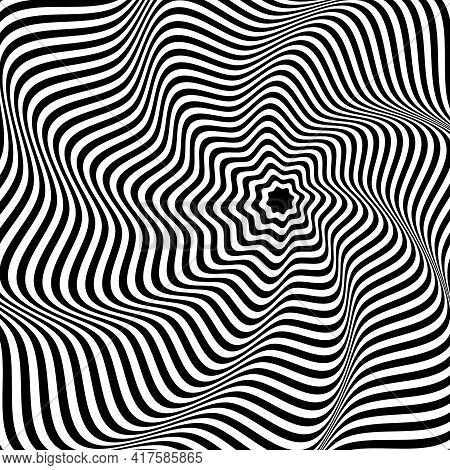 Illusion Abstract Black And White Circular Pattern. Illusion Of Vortex Movement. Geometric Pattern W