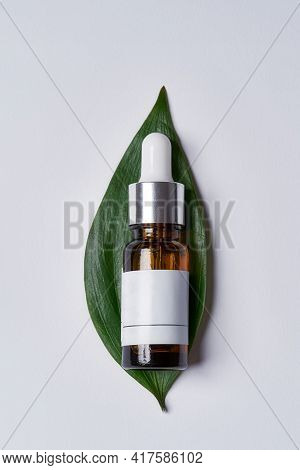 Bottle With Essential Oil Lying Above Exotic Green Leaf Against White Background, Vertical Shot, Fla