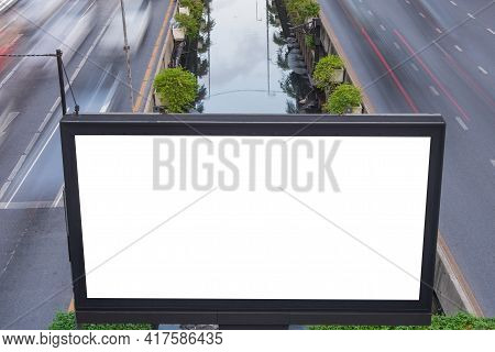 Billboard Blank For Advertising Poster Or Blank Billboard  For Advertisement On Road With Street Lig