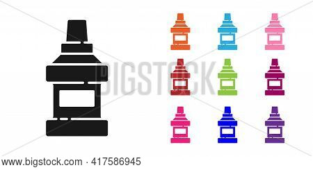 Black Mouthwash Plastic Bottle Icon Isolated On White Background. Liquid For Rinsing Mouth. Oralcare