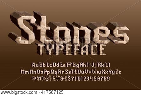 Stones Alphabet Font. 3d Cartoon Letters, Numbers And Symbols. Uppercase And Lowercase. Stock Vector