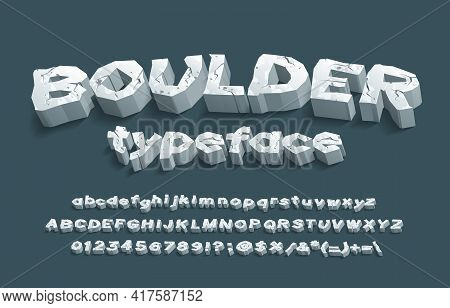 Boulder Alphabet Font. 3d Cracked Stone Letters, Numbers And Punctuation. Uppercase And Lowercase. S